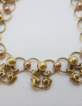 14ct Yellow & Rose Gold Ornate Collier Necklace - Antique / Vintage Handmade : Horwath-Macho Vienna