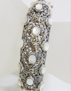 Sterling Silver Marcasite With Mother of Pearl Wide Ornate Filigree Hinged Bangle