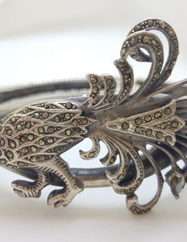 Sterling Silver Very Large Marcasite Peacock Bird Hinged Bangle