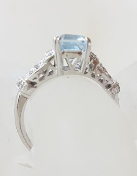 14ct White Gold Rectangular Topaz with Ornate Set Diamond Ring