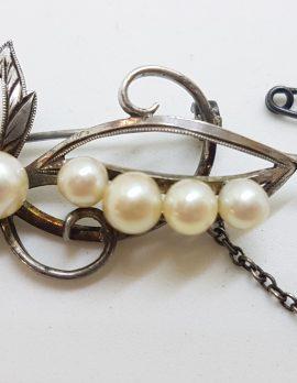 Sterling Silver Ornate Pearl Floral Brooch - Vintage
