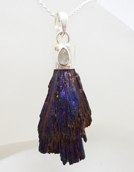Sterling Silver Black Titanium Kyanite Pendant on Silver Chain - Purple with Moonstone