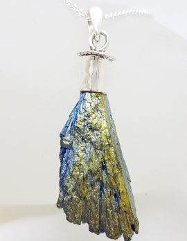 Sterling Silver Black Titanium Kyanite Pendant on Silver Chain - Blue, Green & Bright Yellow