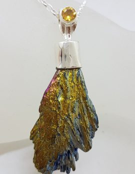 Sterling Silver Black Titanium Kyanite Pendant on Silver Chain - Bright Yellow with Citrine