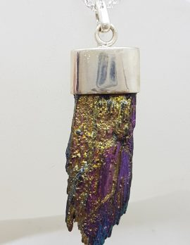 Sterling Silver Black Titanium Kyanite Pendant on Silver Chain – Purple with Yellow