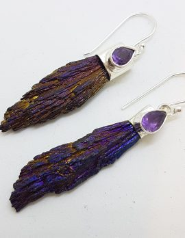 Sterling Silver Black Titanium Kyanite Long Drop Earrings with Amethyst - Purple