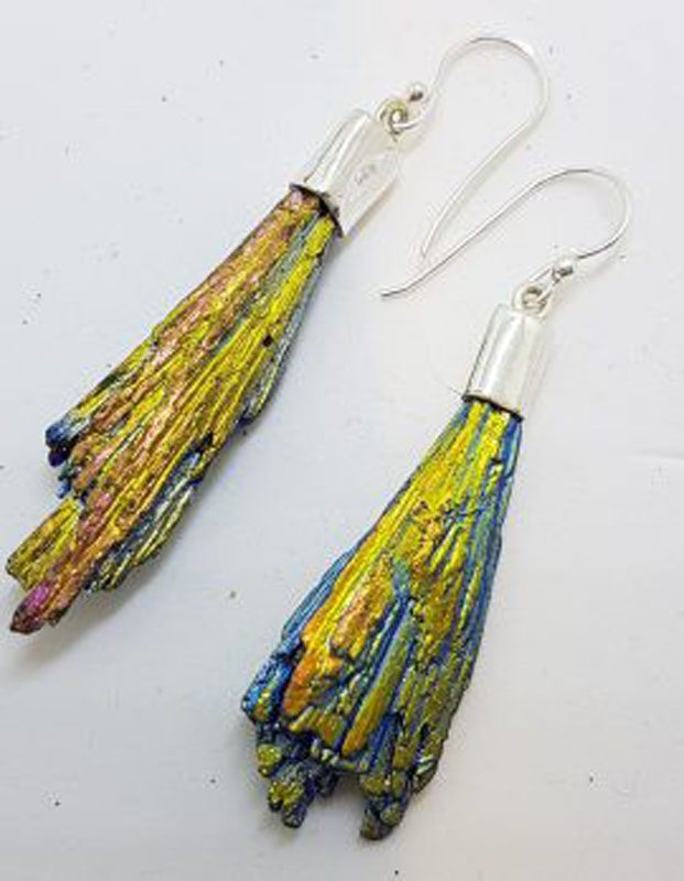Sterling Silver Black Titanium Kyanite Long Drop Earrings - Vibrant Yellow and Blue