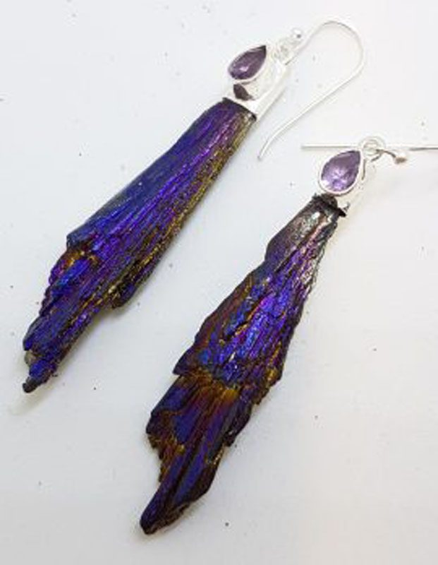 Sterling Silver Black Titanium Kyanite Long Drop Earrings - Purple with Amethyst