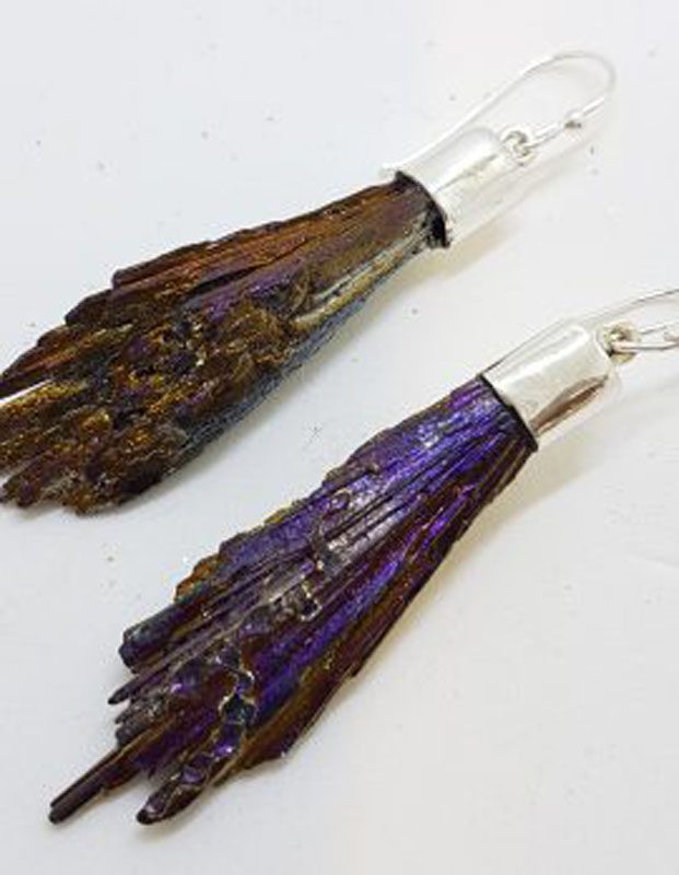 Sterling Silver Black Titanium Kyanite Long Drop Earrings - Purple