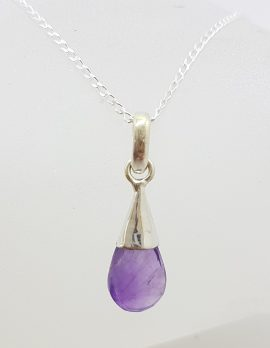 Sterling Silver Amethyst Ball in Cone Drop Pendant on Silver Chain