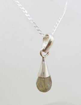 Sterling Silver Labradorite Ball in Cone Drop Pendant on Silver Chain