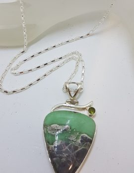 Sterling Silver Large Variscite with Peridot Pendant on Silver Chain