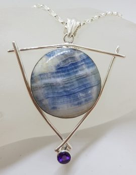 Sterling Silver Large Round Blue with Amethyst Pendant on Silver Chain