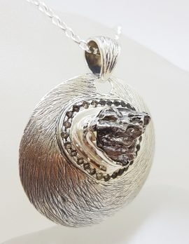 Sterling Silver Large Round Set Meteorite with Smokey Quartz Pendant on Silver Chain