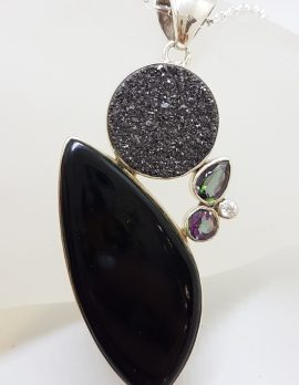 Sterling Silver Large Onyx with Pyrite and Mystic Quartz / Mystic Topaz Pendant on Silver Chain
