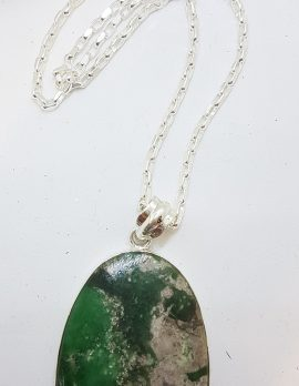 Sterling Silver Large Oval Variscite Pendant on Silver Chain