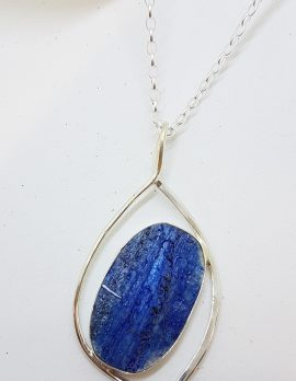 Sterling Silver Large Oval Blue Kyanite Open Design Pendant on Silver Chain