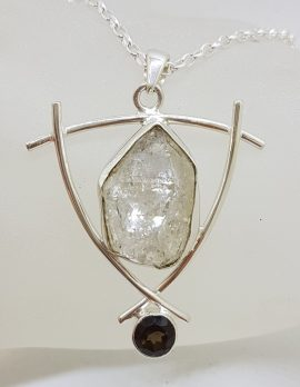 Sterling Silver Large Herkimer Diamond with Smokey Quartz Pendant on Silver Chain