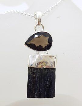 Sterling Silver Black Tourmaline with Smokey Quartz Pendant on Silver Chain