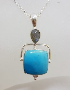 Sterling Silver Square Natural Turquoise with Cabochon Labradorite Pendant on Silver Chain