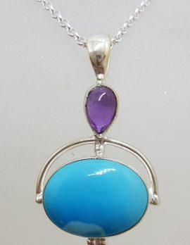 Sterling Silver Oval Natural Turquoise with Cabochon Amethyst Pendant on Silver Chain