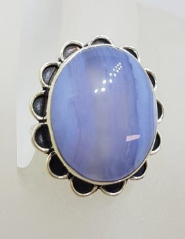 Sterling Silver Large Oval Blue Lace Agate with Ornate Rim Ring - Cabochon