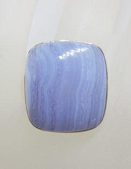Sterling Silver Large Square Blue Lace Agate Ring