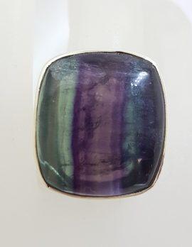 Sterling Silver Large Rectangular Fluorite Ring