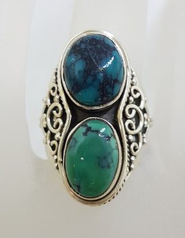 Sterling Silver Long Ornate Design Natural Turquoise Ring