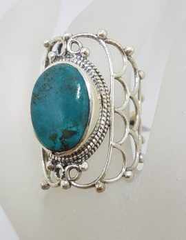 Sterling Silver Long Ornate Filigree Design Natural Turquoise Ring
