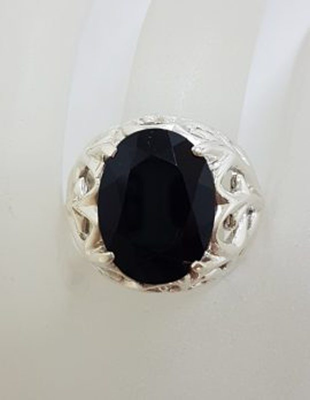 Sterling Silver Large Oval Black Onyx Filigree Design Ring