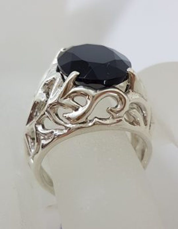 Sterling Silver Large Oval Black Onyx Filigree Design Ring