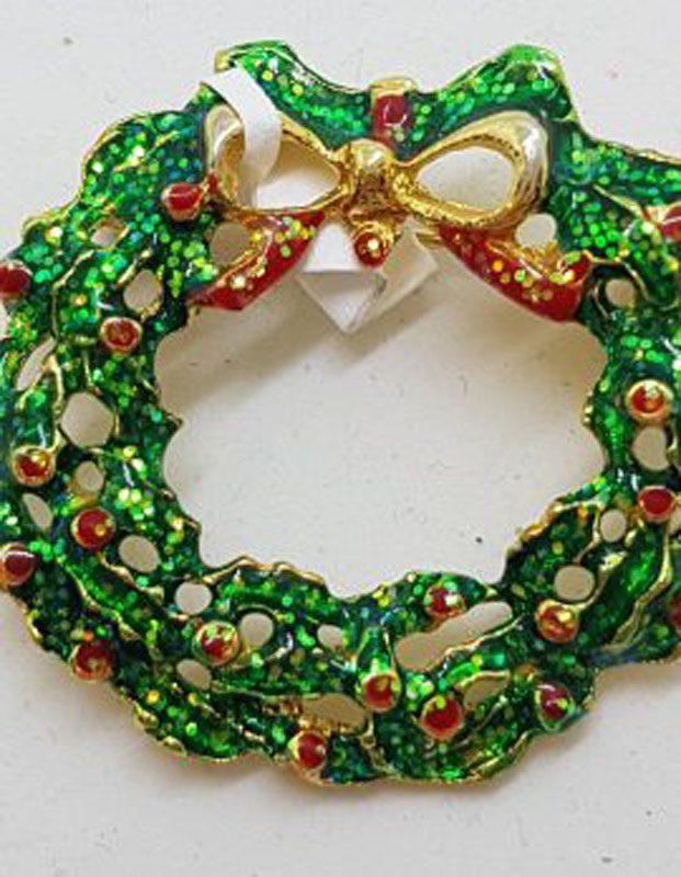 Large Plated Wreath Brooch – Vintage Costume Jewellery