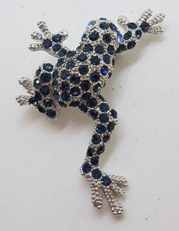 Large Plated Black Frog Brooch – Vintage Costume Jewellery