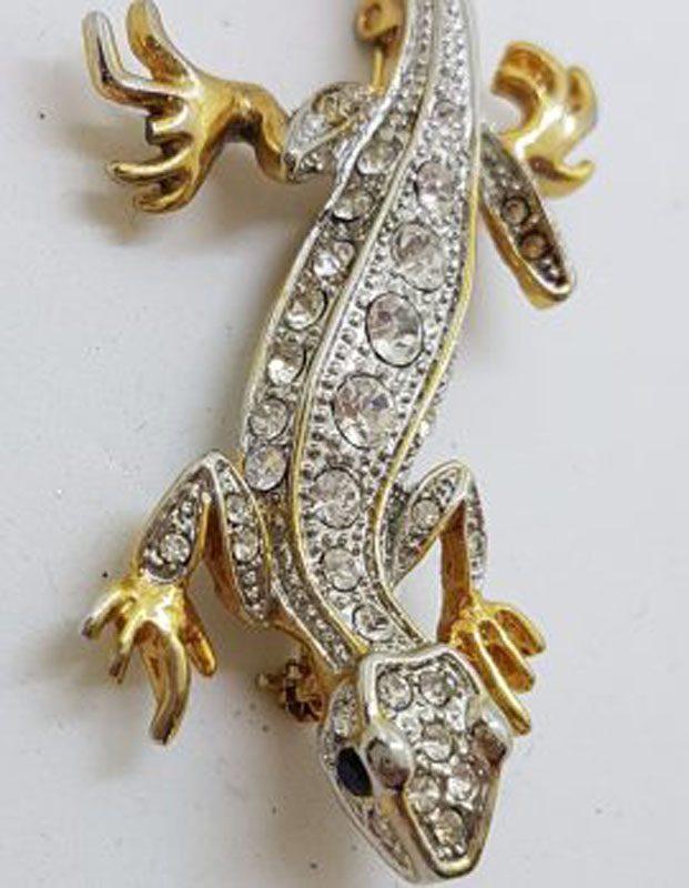 Large Plated Rhinestones Salamander / Lizard Brooch – Vintage Costume Jewellery