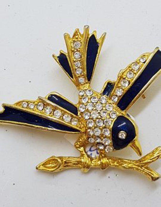 Large Plated Rhinestones Bird on Branch Brooch – Vintage Costume Jewellery