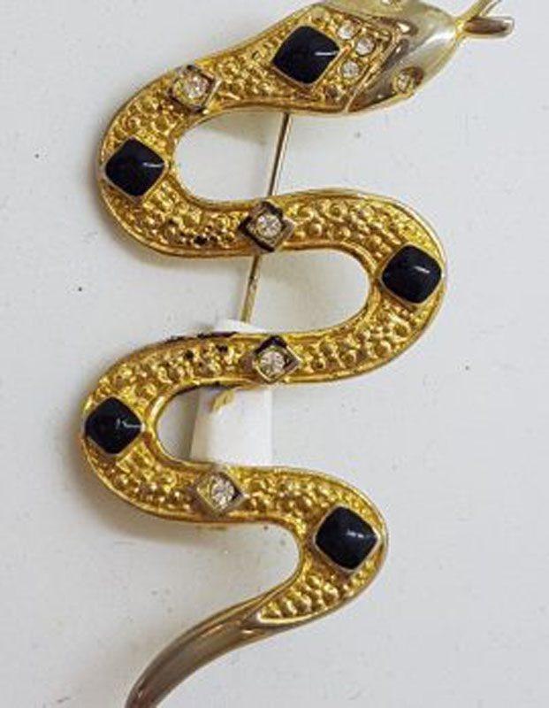 Large Plated Snake Brooch - Vintage Costume Jewellery