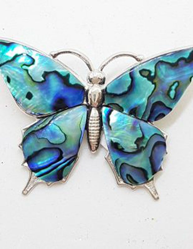 Large Plate with Paua Shell Butterfly Brooch - Vintage Costume Jewellery