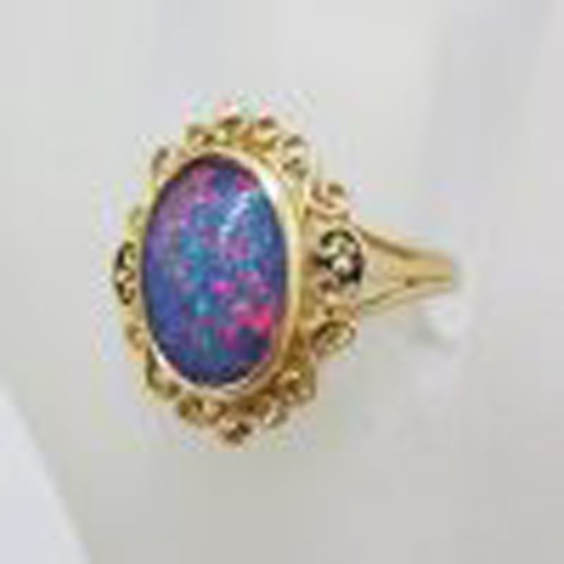 9ct Yellow Gold Large Ornate Oval Opal Ring - Vintage