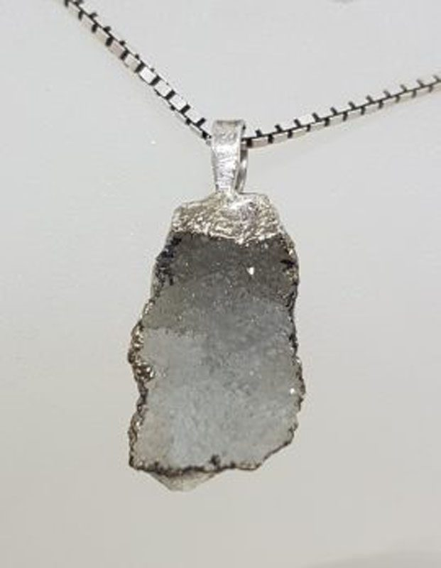 Sterling Silver Druzy Crystal Pendant on Silver Chain - Vintage