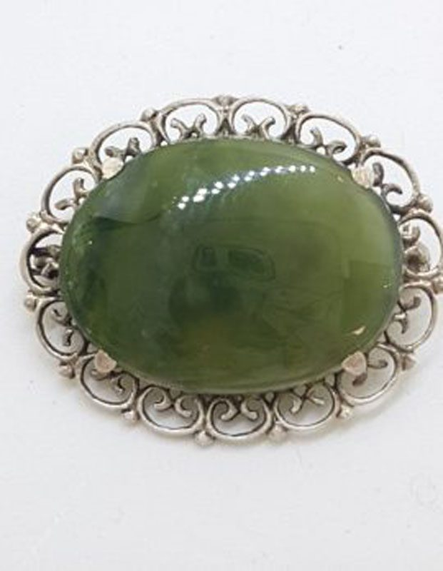 Sterling Silver Ornate Oval New Zealand Green Stone / Jade Filigree Edged Brooch - Vintage