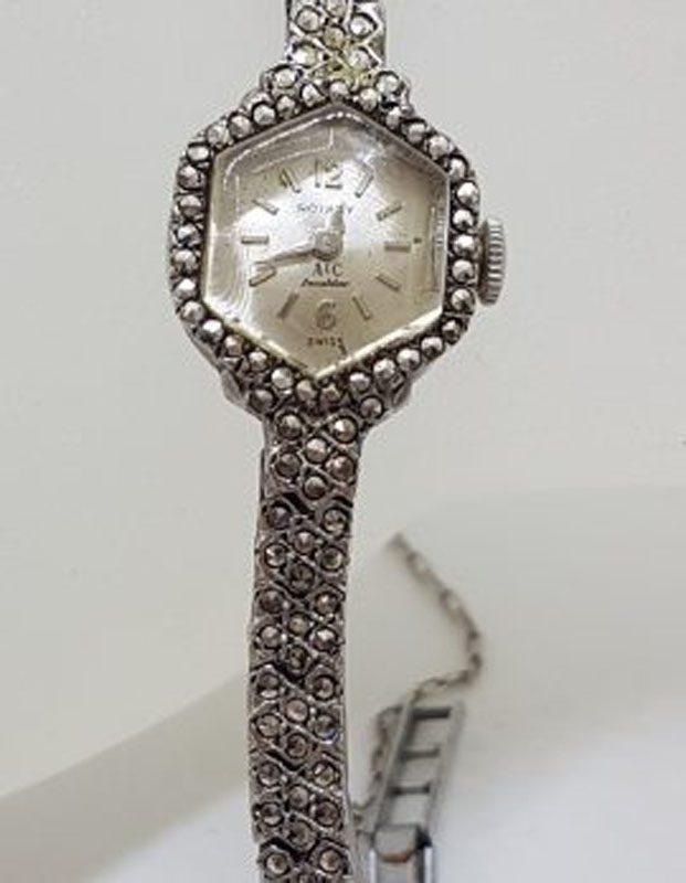 Sterling Silver Marcasite Ladies Watch in Hexagonal Shape - Vintage