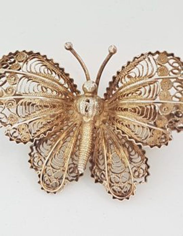 Sterling Silver Ornate Filigree Butterfly Brooch - Vintage
