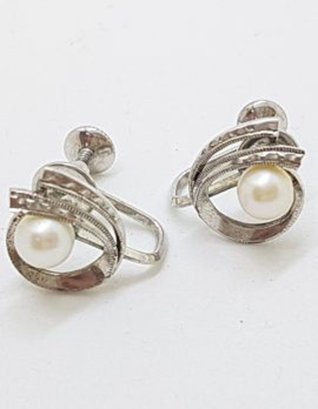 Sterling Silver Cultured Pearl Screw-On Earrings - Vintage