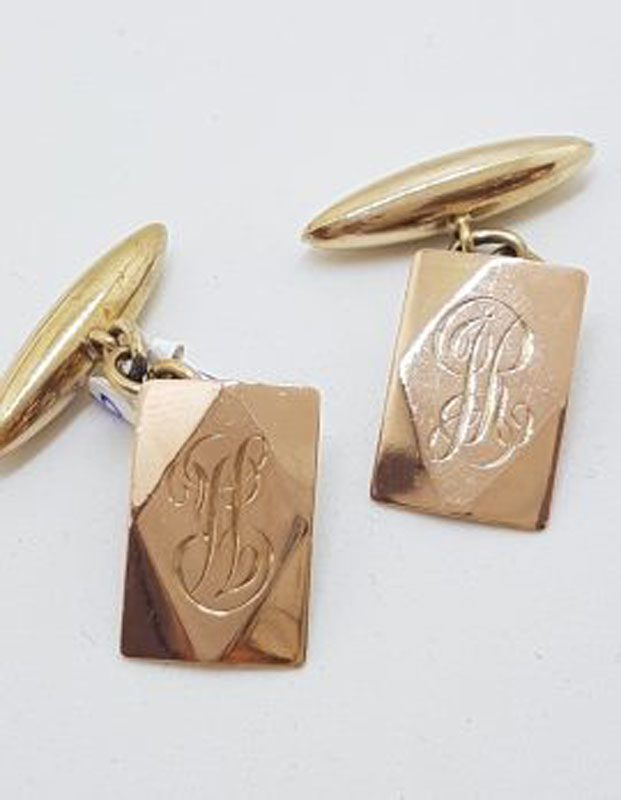 9ct Rose Gold Rectangular Shape Monogrammed Cufflinks - Antique / Vintage