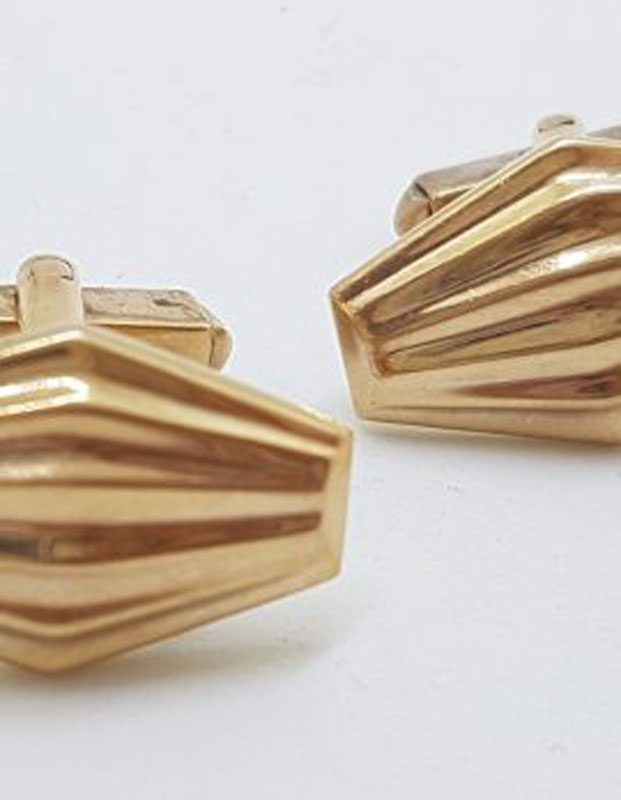 9ct Rose Gold Stunning Marquis Shape Cufflinks - Antique / Vintage