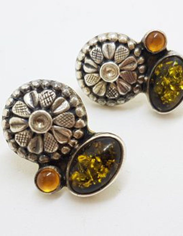 Sterling Silver Amber Floral Stud Earrings