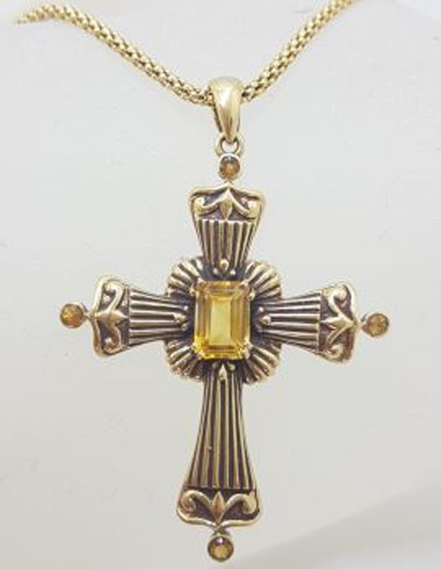 9ct Yellow Gold Citrine Large Cross / Crucifix Pendant on Gold Chain