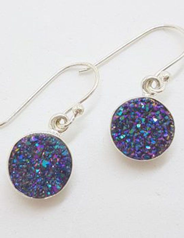 Sterling Silver Round Blue Druzy Drop Earrings