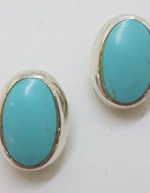 Sterling Silver Large Oval Blue Turquoise Clip-On Earrings